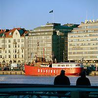 Red boat in Helsinki's harbor, Finland