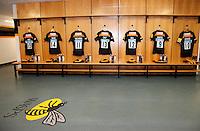 Photo: Richard Lane/Richard Lane Photography. Wasps v London Irish. Aviva Premiership. 21/12/2014. Wasps' first game at the Ricoh Arena as their new home. Wasps Changing Room.