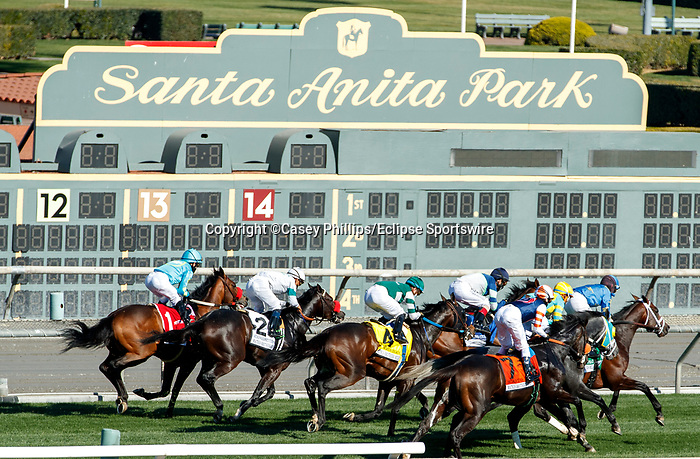ARCADIA, CA  DEC 26: The start of the Mathis Brothers Mile (Grade ll) on December 26, 2020 at Santa Anita Park in Arcadia, CA.(Photo by Casey Phillips/Eclipse Sportswire/CSM.)