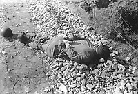 One of four Americans of the 21st Inf. Regt. found between the forward observation post and the front line.  The men were probably captured the night of July 9th, and shot thru the head with their hands tied behind their backs.  July 10. 1950.  Cpl. Robert Dangel. (Army)<br /> NARA FILE #:  111-SC-343302<br /> WAR & CONFLICT BOOK #:  1510