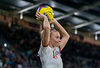 ORLANDO, FL - MARCH 05: Leah Williamson #14 of England looks to throw in the ball during a game between England and USWNT at Exploria Stadium on March 05, 2020 in Orlando, Florida.
