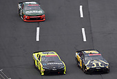 CONCORD, NORTH CAROLINA - MAY 25: Kyle Busch, driver of the #54 App State Class of 2020 Toyota, leads Brandon Jones, driver of the #19 Menards/Pelonis Toyota, during the NASCAR Xfinity Series Alsco 300 at Charlotte Motor Speedway on May 25, 2020 in Concord, North Carolina. (Photo by Jared C. Tilton/Getty Images)