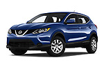 Stock pictures of low aggressive front three quarter view of 2019 Nissan Rogue-Sport S 5 Door SUV Low Aggressive