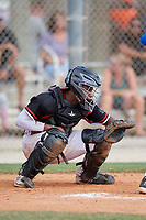 Yanluis Ortiz (25) during the WWBA World Championship at the Roger Dean Complex on October 13, 2019 in Jupiter, Florida.  Yanluis Ortiz attends Southlake Carroll High School in Grapevine, TX and is committed to Miami.  (Mike Janes/Four Seam Images)