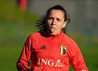 20200911 - TUBIZE , Belgium : Davina Philtjens sticks her tongue out during the training session of the Belgian Women's National Team, Red Flames ahead of the Women's Euro Qualifier match against Switzerland, on the 28th of November 2020 at Proximus Basecamp. PHOTO: SEVIL OKTEM   SPORTPIX.BE