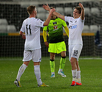 Pictured: George Byers of Swansea City (R)  celebrates with Adam King their win Monday 15 May 2017<br /> Re: Premier League Cup Final, Swansea City FC U23 v Reading U23 at the Liberty Stadium, Wales, UK