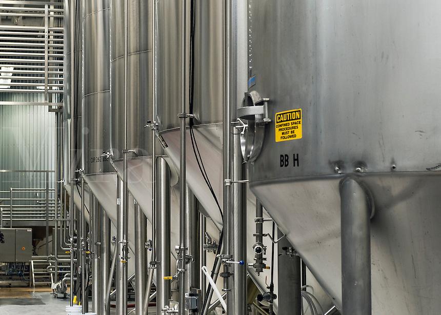 Fermentation tanks at a brewery, USA.