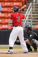 Mike Bianucci #3 of the Hickory Crawdads at bat versus the West Virginia Power at L.P. Frans Stadium June 21, 2009 in Hickory, North Carolina. (Photo by Brian Westerholt / Four Seam Images)