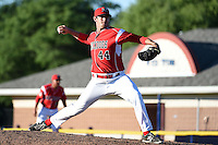 Batavia Muckdogs pitcher Josh Hodges (44) delivers a pitch during a game against the State College Spikes on June 22, 2014 at Dwyer Stadium in Batavia, New York.  State College defeated Batavia 10-3.  (Mike Janes/Four Seam Images)