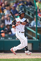Rochester Red Wings center fielder Eddie Rosario (1) at bat during a game against the Toledo Mudhens on June 12, 2016 at Frontier Field in Rochester, New York.  Rochester defeated Toledo 9-7.  (Mike Janes/Four Seam Images)