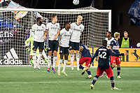 FOXBOROUGH, MA - OCTOBER 19: Lee Nguyen #42 of New England Revolution takes a free kick during a game between Philadelphia Union and New England Revolution at Gillette on October 19, 2020 in Foxborough, Massachusetts.