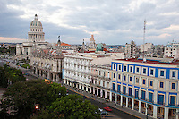 Cuba, Havana.  Paseo de Marti.  Hotel Telegrafo, Hotel Inglaterra, National Theater, Capitol, from right foreground to left background.  Cuba Telecom Headquarters, center background.
