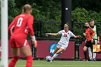 NEWTON, MA - AUGUST 29: Sarai Costello #28 of Boston College crosses the ball during a game between University of Connecticut and Boston College at Newton Campus Soccer Field on August 29, 2021 in Newton, Massachusetts.