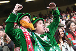 Patriotic Ireland fans in fancy dress.<br /> RBS 6 Nations<br /> Wales v Ireland<br /> Millennium Stadium<br /> 14.03.15<br /> ©Steve Pope - SPORTINGWALES
