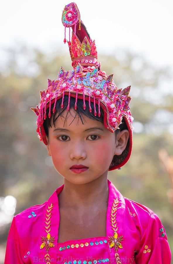 Young novice during noviciation ceremony in Bagan, Myanmar