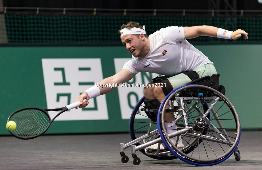Rotterdam, The Netherlands, 5 march  2021, ABNAMRO World Tennis Tournament, Ahoy,  Quater final wheelchair: Alfie Hewett (GBR)  Photo: www.tennisimages.com/henkkoster