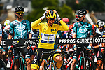 Race leader Yellow Jersey Julian Alaphilippe (FRA) Deceuninck-Quick Step lines up for the start of Stage 2 of the 2021 Tour de France, running 183.5km from Perros-Guirec to Mur-de-Bretagne Guerledan, France. 27th June 2021.  <br /> Picture: A.S.O./Charly Lopez   Cyclefile<br /> <br /> All photos usage must carry mandatory copyright credit (© Cyclefile   A.S.O./Charly Lopez)