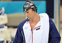 August 01, 2012..Michael Phelps arrives to compete in Men's 200m Individual Medley Semifinal at the Aquatics Center on day five of 2012 Olympic Games in London, United Kingdom.