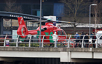 An Air Ambulance attends the scene of a road traffic collision on Newport Bridge after a female pedestrian was hit by a silver Ford Focus leaving her in a critical condition, Newport, south Wales, UK. Thursday 23 March 2017