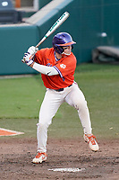 Jonathan French (8) of the Clemson Tigers bats in a fall Orange-Purple intrasquad scrimmage on Friday, November 13, 2020, at Doug Kingsmore Stadium in Clemson, South Carolina. (Tom Priddy/Four Seam Images)