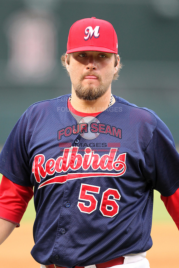 Memphis Redbirds pitcher Lance Lynn #56 during a game versus the Round Rock Express at Autozone Park on April 30, 2011 in Memphis, Tennessee.  Memphis defeated Round Rock by the score of 10-7.  Photo By Mike Janes/Four Seam Images