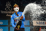 Wout Van Aert (BEL) Team Jumbo-Visma retains the race leaders Maglia Azzurra at the end of Stage 3 of Tirreno-Adriatico Eolo 2021, running 219km from Monticiano to Gualdo Tadino, Italy. 12th March 2021. <br /> Photo: LaPresse/Gian Mattia D'Alberto   Cyclefile<br /> <br /> All photos usage must carry mandatory copyright credit (© Cyclefile   LaPresse/Gian Mattia D'Alberto)