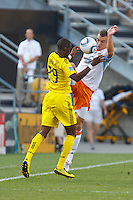 24 JULY 2010:  Shaun Francis of the Columbus Crew (29) and Cam Weaver of the Houston Dynamo (15) during MLS soccer game between Houston Dynamo vs Columbus Crew at Crew Stadium in Columbus, Ohio on July 3, 2010. Columbus defeated the Dynamo 3-0.