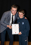 St Johnstone FC Academy Awards Night...06.04.15  Perth Concert Hall<br /> Zander Clark presents a certificate to Craig Tosh<br /> Picture by Graeme Hart.<br /> Copyright Perthshire Picture Agency<br /> Tel: 01738 623350  Mobile: 07990 594431