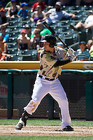 Taylor Lindsey (8) of the Salt Lake Bees at bat against the Fresno Grizzlies at Smith's Ballpark on May 26, 2014 in Salt Lake City, Utah.  (Stephen Smith/Four Seam Images)