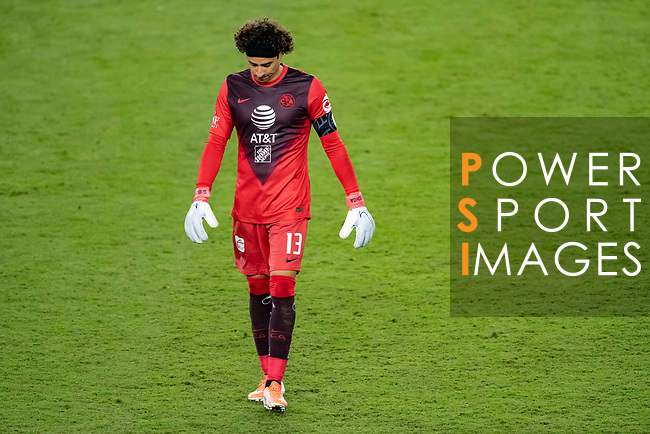 Guillermo Ochoa of Club America (MEX) reacts after receiving a goal during their CONCACAF Champions League Semi Finals match against Los Angeles FC (USA) at the Orlando's Exploria Stadium on 19 December 2020, in Florida, USA. Photo by Victor Fraile / Power Sport Images