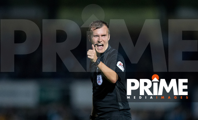 Referee Antony Coggins during the Carabao Cup 2nd round match between Wycombe Wanderers and Forest Green Rovers at Adams Park, High Wycombe, England on 28 August 2018. Photo by Andy Rowland.