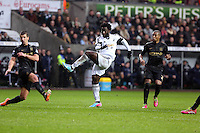 Wednesday, 01 January 2014<br /> Pictured: Wilfried Bony of Swansea (C) shoots wide.<br /> Re: Barclay's Premier League, Swansea City FC v Manchester City at the Liberty Stadium, south Wales.