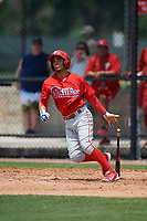 Philadelphia Phillies Alexito Feliz (7) during a Minor League Extended Spring Training game against the Atlanta Braves on April 20, 2018 at Carpenter Complex in Clearwater, Florida.  (Mike Janes/Four Seam Images)