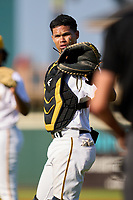 Bradenton Marauders catcher Endy Rodriguez (5) during a game against the Lakeland Flying Tigers on May 18, 2021 at LECOM Park in Bradenton, Florida.  (Mike Janes/Four Seam Images)