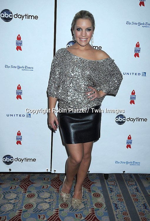 """Kristen Alderson posing for photographers at The ABC Daytime Salutes Broadway Cares/ Equity Fights Aids """" An Evening of Musical Entertainment and Comedy""""  Benefit after party  on March 13, 2011 at the Marriott Marquis Hotel in New York City."""