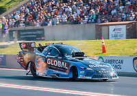 Jul 19, 2019; Morrison, CO, USA; NHRA funny car driver Shawn Langdon during qualifying for the Mile High Nationals at Bandimere Speedway. Mandatory Credit: Mark J. Rebilas-USA TODAY Sports