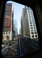 26 JUN 2014 - CHICAGO, USA - The L, the elevated train line in Chicago in the USA (PHOTO COPYRIGHT © 2014 NIGEL FARROW, ALL RIGHTS RESERVED)