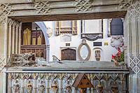 UK, England, Ewelme.  Effigy of Alice de la Pole, Dutchess of Suffolk, Grandaughter of Geoffrey Chaucer, in St. Mary the Virgin Church, 15th. Century.  Heraldic Angels Line the Coffin.