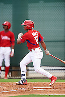 GCL Phillies third baseman Raul Rivas (19) at bat during a game against the GCL Braves on August 3, 2016 at the Carpenter Complex in Clearwater, Florida.  GCL Phillies defeated GCL Braves 4-3 in a rain shortened six inning game.  (Mike Janes/Four Seam Images)