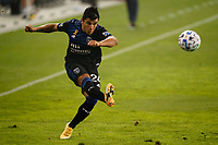 SAN JOSE, CA - SEPTEMBER 13: Nick Lima #24 of the San Jose Earthquakes plays the ball during a game between Los Angeles Galaxy and San Jose Earthquakes at Earthquakes Stadium on September 13, 2020 in San Jose, California.