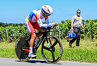 17th July 2021, St Emilian, Bordeaux, France;  SIMON Julien (FRA) of TOTAL ENERGIES during stage 20 of the 108th edition of the 2021 Tour de France cycling race, an individual time trial stage of 30,8 kms between Libourne and Saint-Emilion.
