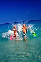 Happy couple finishing snorkeling on the Big Island