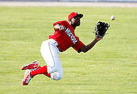 July 19, 2009:  Center Fielder D'Marcus Ingram of the Batavia Muckdogs during a game at Dwyer Stadium in Batavia, NY.  The Muckdogs are the NY-Penn League Short-Season Class-A affiliate of the St. Louis Cardinals.  Photo By Mike Janes/Four Seam Images