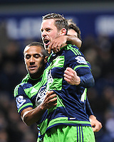 Gylfi Sigurdsson of Swansea City celebrates his goal 0-1 during the Barclays Premier League match between West Bromwich Albion and Swansea City at The Hawthorns on the 2nd of February 2016