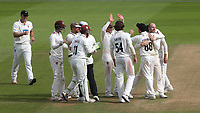 Somerset bowler, Jack Leach hugs Devon Conway after the New Zealander takes a fine catch to dismiss Surrey's Ryan Patel which is Jack Leach's fifth wicket of the innings during Surrey CCC vs Somerset CCC, LV Insurance County Championship Group 2 Cricket at the Kia Oval on 13th July 2021