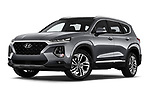 Stock pictures of low aggressive front three quarter view of a 2019 Hyundai Santa FE Shine 5 Door SUV
