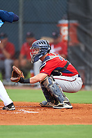 GCL Twins catcher Brian Olson (39) during the first game of a doubleheader against the GCL Rays on July 18, 2017 at Charlotte Sports Park in Port Charlotte, Florida.  GCL Twins defeated the GCL Rays 11-5 in a continuation of a game that was suspended on July 17th at CenturyLink Sports Complex in Fort Myers, Florida due to inclement weather.  (Mike Janes/Four Seam Images)