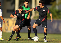 MIAMI, FL - DECEMBER 21, 2012:  Brandon Allen and Dan Metzger of the USA MNT U20 during a closed scrimmage with the Venezuela U20 team, on Friday, December 21, 2012, At the FIU soccer field in Miami.  USA won 4-0.