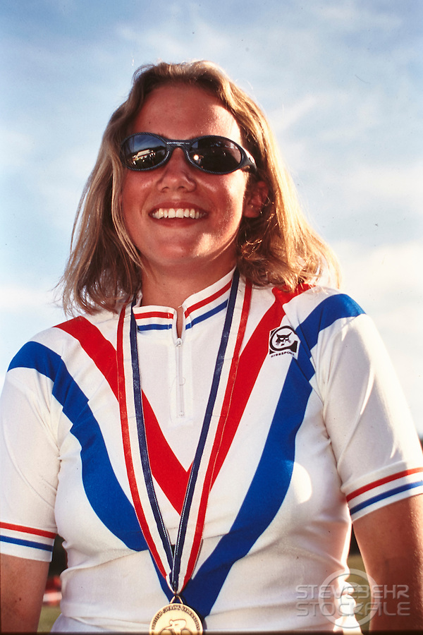 Tracy Moseley . Junior DH National champion. National Mountain Bike Championships, nr Shrewsbury , Shropshire .  1995 .