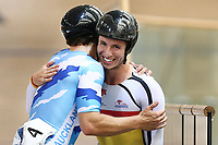 Bradly Knipe and Ethan Mitchell after competing in the Men Elite Sprint race  during the 2020 Vantage Elite and U19 Track Cycling National Championships at the Avantidrome in Cambridge, New Zealand on Friday, 24 January 2020. ( Mandatory Photo Credit: Dianne Manson )